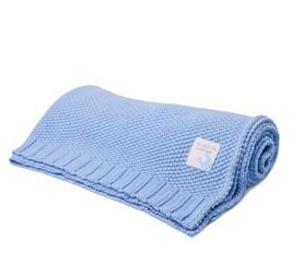 Kocyk bawełniany dzianinowy 75x95 niebieski mama story