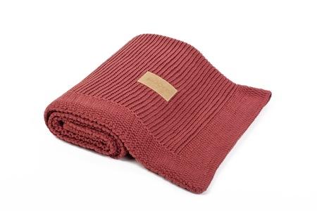 Kocyk tkany Organic z bawełny organicznej ceglany Poofi