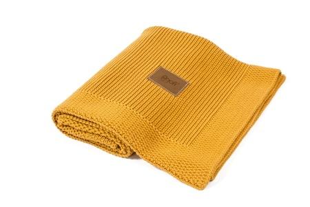 Kocyk tkany Organic z bawełny organicznej miodowy Poofi