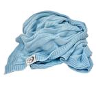 Kocyk bawełniany dzianinowy dziecięcy 75x100 niebieski (2)